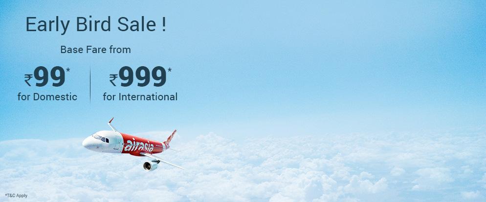 Air Asia Early Bird Sale Base Fares From INR 99 Via
